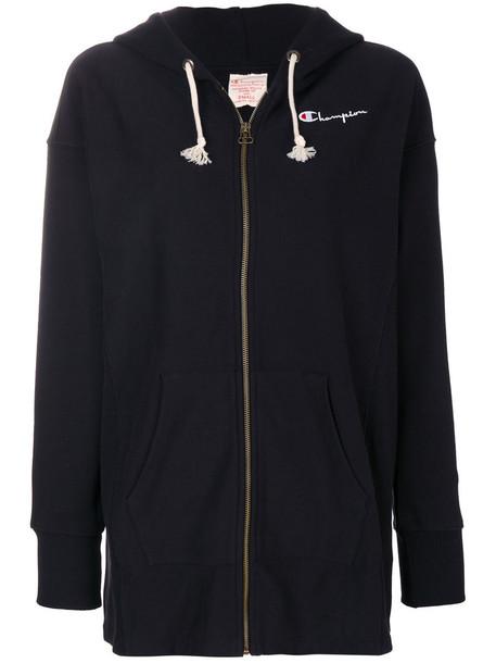 hoodie embroidered zip women cotton black sweater