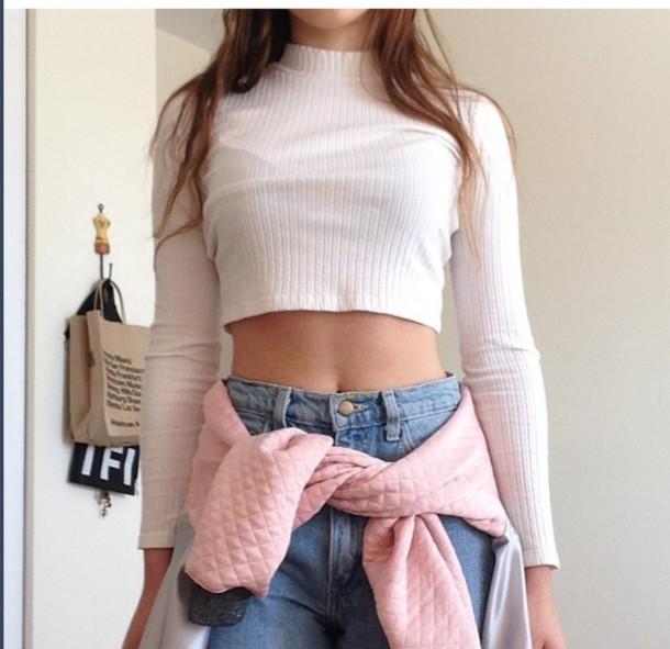 sweater white cropped mockneck