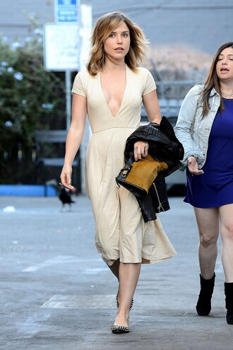 dress midi dress sophia bush v-neck dress ivory dress flats shoes