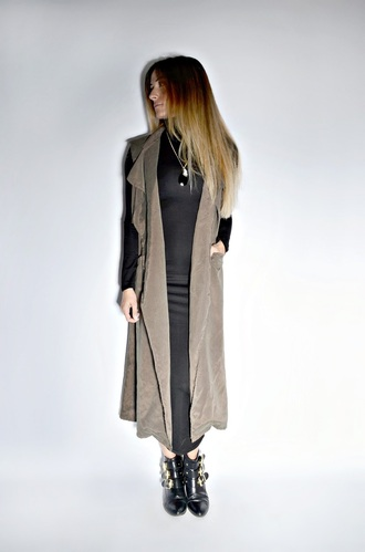 quality rivets blogger buckles duster coat sleeveless coat long sleeve dress