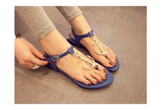 shoes flat sandals sandals sailor style anchor
