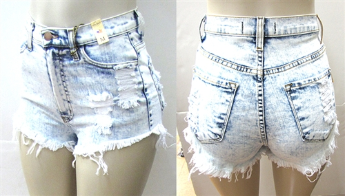 Acid Wash High Waist Shorts - Get Roc'd Up