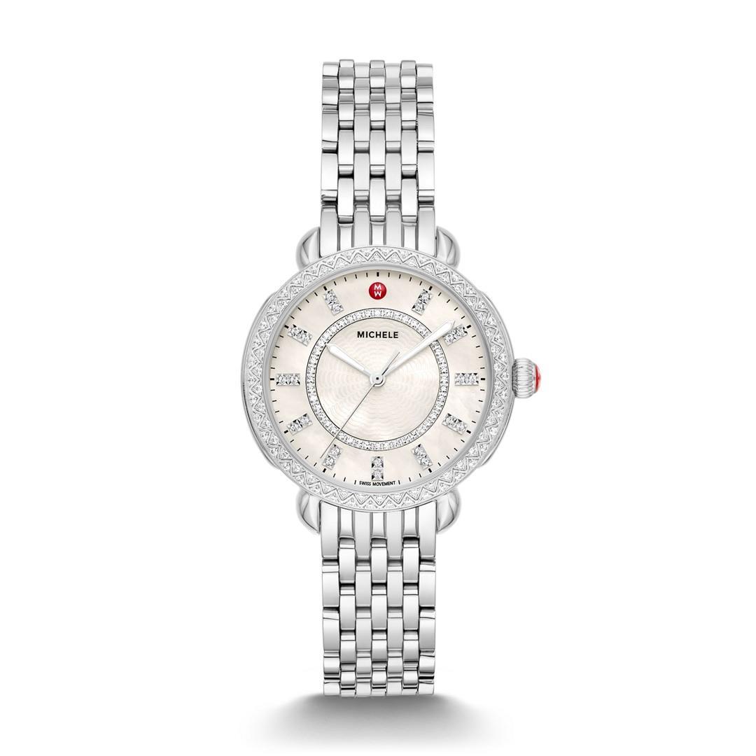 Michele Sidney Classic Stainless Steel Diamond Watch  Jewelry - MWW30B000001