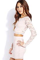 Sweet Side Lace Crop Top | FOREVER21 - 2000129675