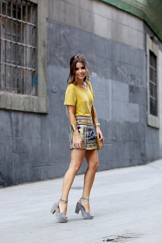 skirt embroidered skirt embroidered mini skirt printed skirt t-shirt yellow t-shirt sandals sandal heels high heel sandals platform sandals grey sandals collage vintage blogger summer outfits summer top streetstyle