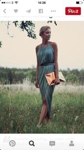 dress,green,silk dress,h&m,halter neck