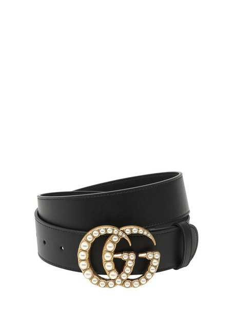 414746271415 GUCCI 40mm Gg Marmont Pearl Buckle Belt in black - Wheretoget