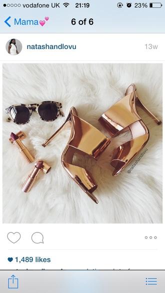 shoes rose gold heels mules high heels