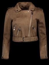 jacket,brown,girly,crop,cropped,cropped jacket,suede,suede jacket,biker jacket,zip,zip up jacket