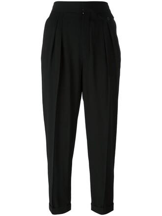 women cotton black wool pants