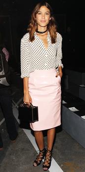 skirt,blouse,alexa chung,fashion week 2014,bag,sandals,pencil skirt