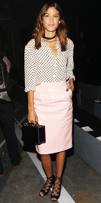 skirt blouse alexa chung fashion week 2014 bag sandals pencil skirt