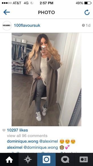 beige sweater grey coat gray Reebok