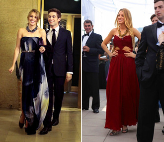 serena van der woodsen blake lively celebrity style gossip girl gossip girl dress red blonde hair elegant elegant dress wow long prom dress long dress no sleeves