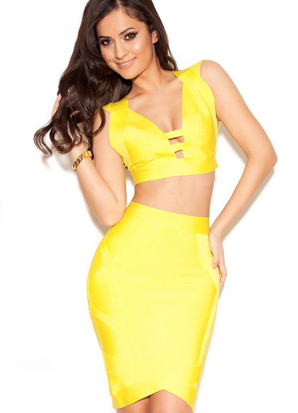 Clothing : 2 Pieces :Ione 'Ione' Acid Yellow Bandage Two Piece Set