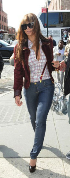 button up shirt buttons jacket fitted flannel feminine flirty beyoncé jeans suspenders shoes