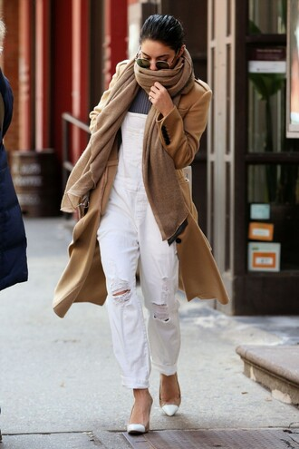 overalls white ripped jeans pumps vanessa hudgens coat