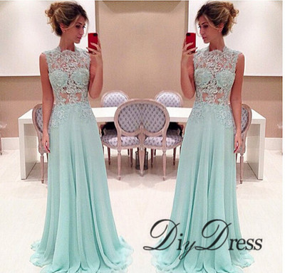 See-through Lace Appliqued Bodice Chiffon Skirt Prom Dresses 2015 ...