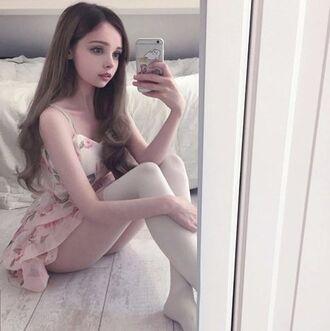 dress kawaii ddlg jfashion pink pink dress kawaii dress thigh-high socks thigh socks floral floral dress japan japanese fashion cute cute dress ebay aliexpress storenvy spreepicky