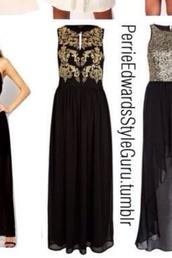dress,prom,prom dress,long prom dress,black dress,gold dress,gold details