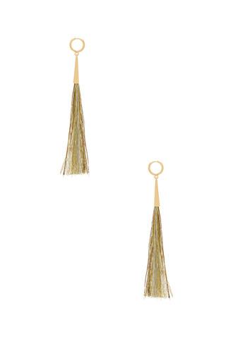 long tassel earrings metallic gold jewels
