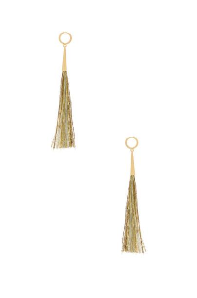 Rebecca Minkoff long tassel earrings metallic gold jewels