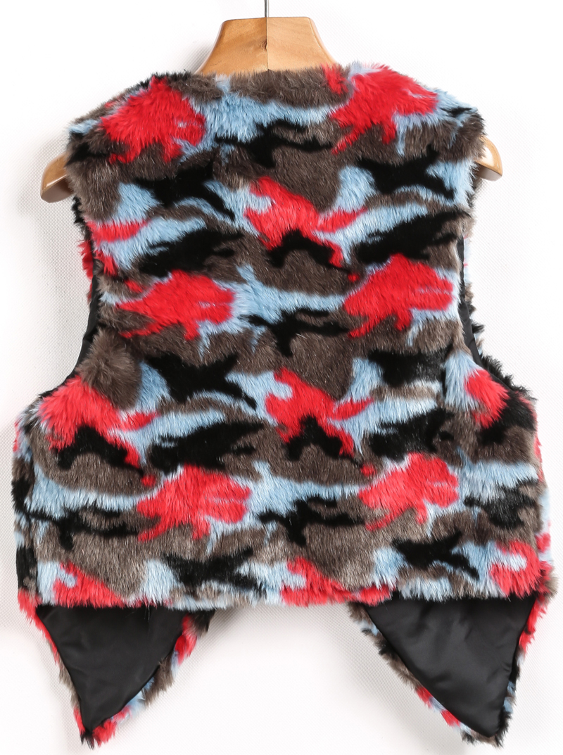 Grey Red Sleeveless Leopard Faux Fur Vest - Sheinside.com