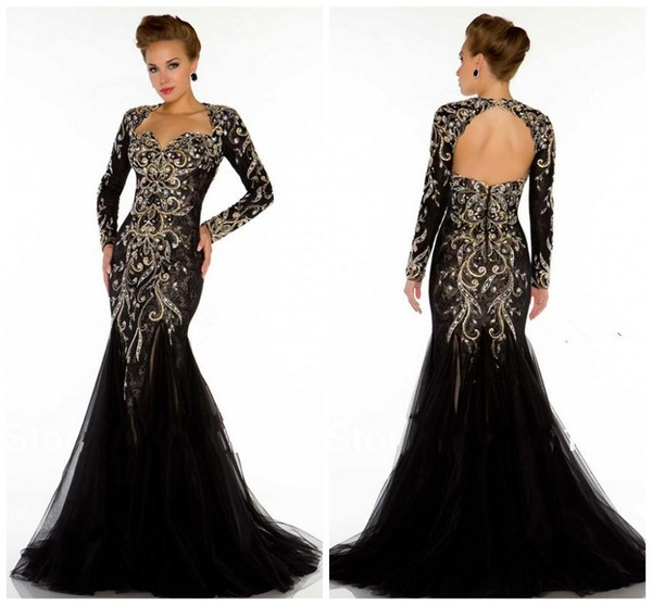 dress backless prom dress evening dress beaded dress