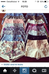 shorts,cut off shorts,flowered shorts,leopard print,denim,denim shorts,high waisted denim shorts,High waisted shorts,aztec,tribal pattern