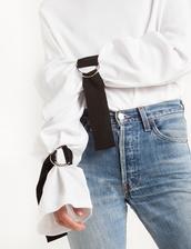 top,belt buckled sleeve tie tee,white tee,long sleeves,vetements