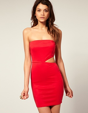 ASOS | ASOS Bandeau Bodycon Dress with Cut Out Side at ASOS
