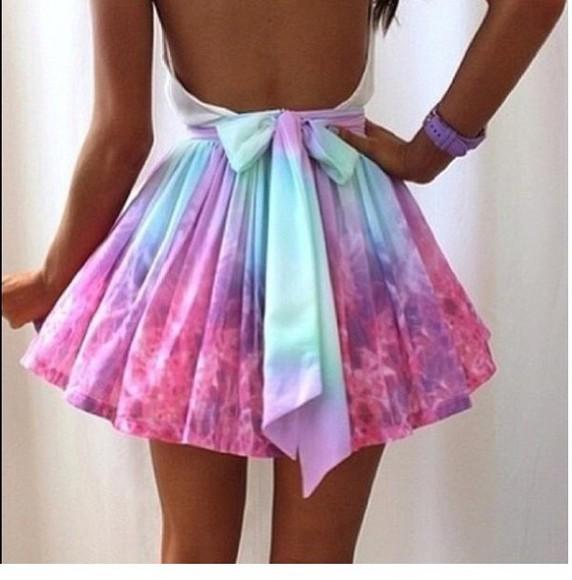 ombre pink dress lavender light blue dress Open back dress skirt galaxy print pastel