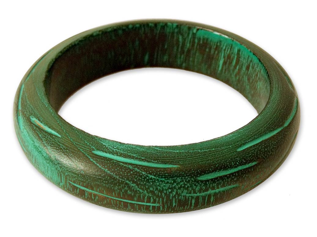 Wood bangle bracelet, 'Empress'