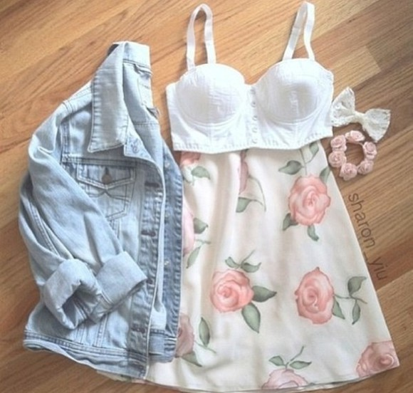 skirt pink pretty flowers white