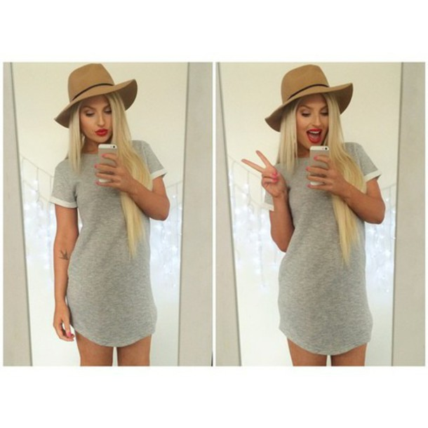 t-shirt dress similar grey dress cute dress dress grey white t-shirt dress t-shirt dress grey t-shirt dress hat blonde hair cute outfit style tan hat tumblr grey t-shirt short dress short peace sign selfie preppy fashion short sleeve youtuber