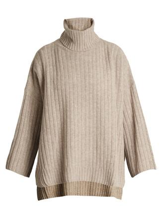 poncho wool knit beige top