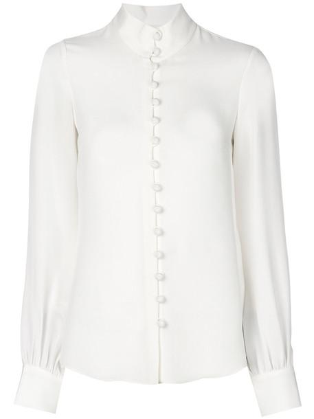 Goat shirt women fit fleur white silk top