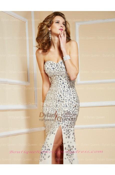 Chiffon beading/sequins sleeveless prom dress