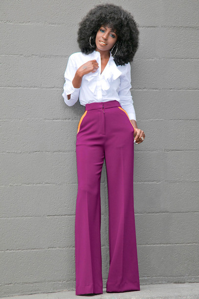 blogger shirt shoes purple white blouse ruffled top black girls killin it