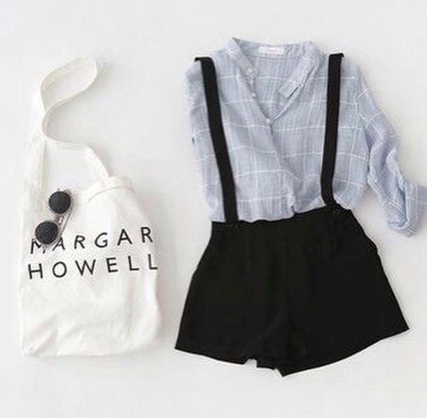 blouse romper shorts black suspenders shirt black shorts with suspenders light blue flannel button up flannel shirt flannel shirt bag