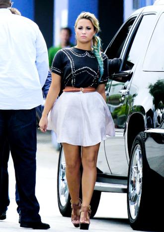 skirt demi lovato cute outfits high heels fashion shoes shirt