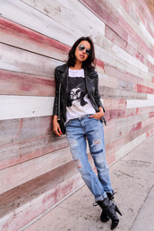 viva luxury,blogger,ripped jeans,black heels,rock,aviator sunglasses,leather jacket,studs,white t-shirt,jacket,t-shirt,jeans,shoes,bag