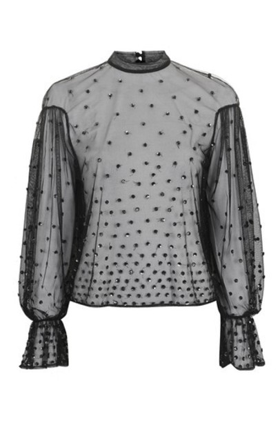 Topshop blouse sequin blouse black top