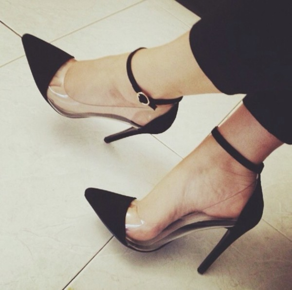 shoes black clear heels sexy classy wheretoget