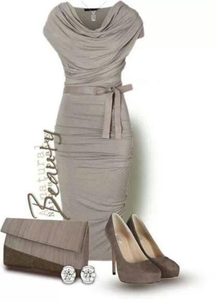 dress silver dress grey dress bridal cute dress mother of the bride dress