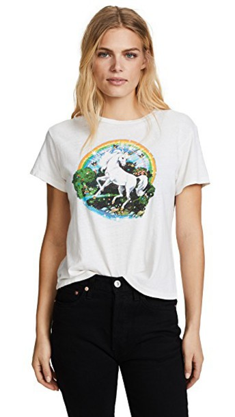 Re/Done unicorn vintage white top