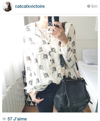 blouse tiger tiger shirt white shirt chiffon blouse