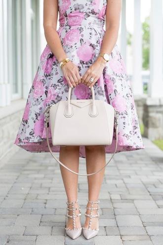 dress tumblr midi dress floral floral dress a line dress bag white bag sandals sandal heels shoes