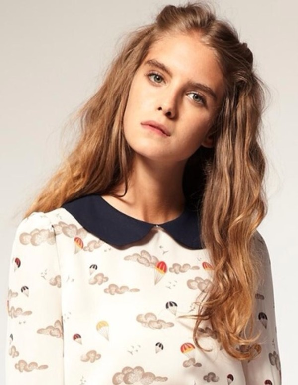 blouse peter pan collar blouse cute ice cream