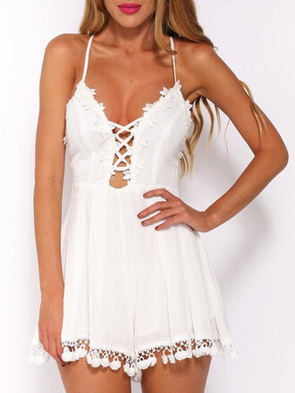 swimwear mynystyle white romper lace style casual
